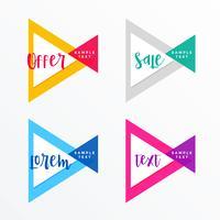 set di banner geometrici moderno stile triangolo