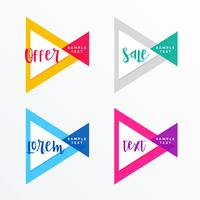 modern triangle style geometric banner set