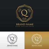 design elegante do estilo do monograma do logotipo da letra Q