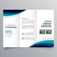 blå våg trifold affär broschyr design mall