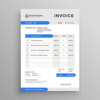 design de modelo de factura elegante vector cinza azul