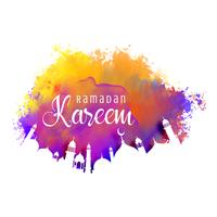 fundo de ramadan kareem com efeito de aquarela