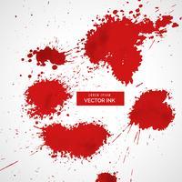 conjunto de vectores de salpicaduras de sangre roja