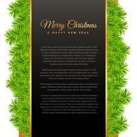 Vrolijk kerstfeest groet ontwerp met groene pijnboom boom bladeren