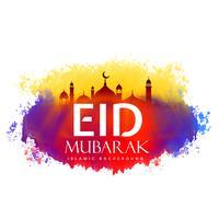 Diseño creativo eid mubarak con efecto acuarela.
