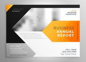 Diseño de plantilla de presentación de folleto de negocios en geometri naranja