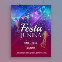 festa junina design flyer con fuochi d'artificio