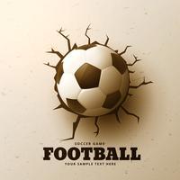 fútbol golpeando la pared con grietas