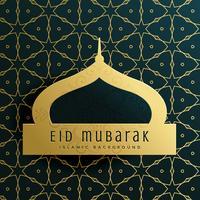 Elegante diseño de tarjeta de felicitación eid mubarak con patrón islámico.