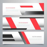 red business horizontal banners set with geometric shapes