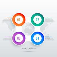 modernes rundes Infographikdesign mit vier Schritten, kann in bu verwendet werden