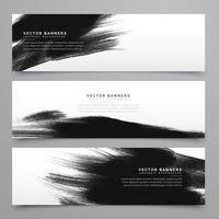 Trazos de tinta negra colección banenrs y cabeceras.