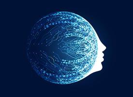 Cara digital con concepto de red de circuitos para aprendizaje automático de una