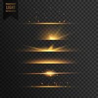 set of golden stars transparent light effect background