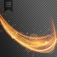 onda de ouro dinâmica com brilhos no fundo transparente