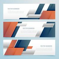set of business banners in geometric shape style