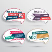 set of sales banners in abstract chat bubble style