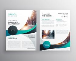 blue wave business brochure flyer template design