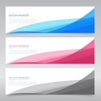 clean wave banners set of three