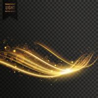genomskinlig gyllene ljus effekt med glitter vektor