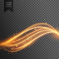 Efecto de luz transparente abstracto con líneas doradas curvas de neón