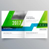 green bi fold brochure template design for your business
