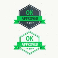 Sello de caucho aprobado. Etiqueta de diseño en color verde.