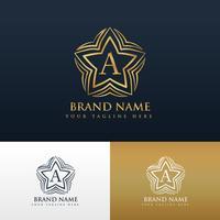 letter A logo conceptontwerp met stervorm