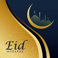 elegant eid festival greeting card design in golden theme