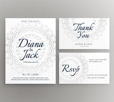 stylish mandala wedding decoration card suite template