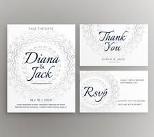 plantilla elegante de la suite de la tarjeta de la decoración de la boda del mandala