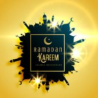 beautiful ramadan kareem greeting card design with frame made wi