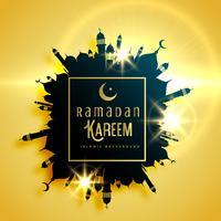 hermoso diseño de tarjeta de felicitación de Ramadán Kareem con marco hecho wi