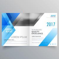 design de revista de capa de brochura com formas abstratas azuis
