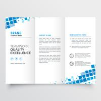 clean tri-fold brochure template design with blue mosaic effect