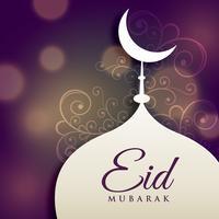 design della moschea con decorazione floreale, saluto eid mubrak