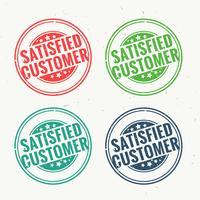 tevreden klanten rubberzegel die in vier verschillende kleuren wordt geplaatst