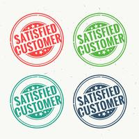 satisfied customer rubber stamp set in four different colors
