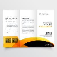 modern tri-fold brochure flyer design template with yellow and b