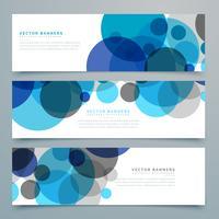 conjunto de banners e cabeçalhos de vetor de círculos azuis