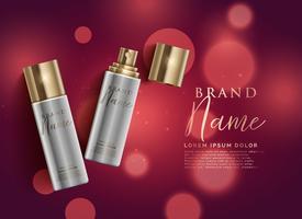 kosmetisk produkt spray på röd bokeh bakgrund, premium annonser conc