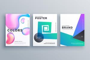 set van drie abstracte minimale brochure ontwerpsjabloon voor magaz