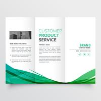 Elegante diseño de folleto tríptico de onda verde para su negocio.
