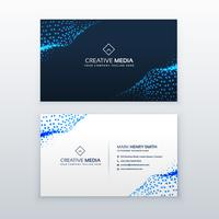 abstract blue business card design with triangles wave