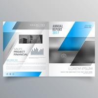 modern business bifold brochure template with blue black abstrac