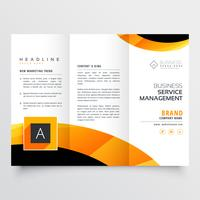 yellow orange black trifold brochure flyer design template for y