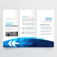 tr-fold brochure flyer design template in blue theme with arrow