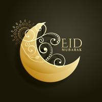 creatieve witte maan met bloemendecoratie voor islamitische eid f