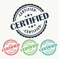 certifierad gummistämpel märke i olika färger