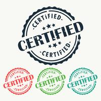 Insignia de sello de goma certificada en diferentes colores.